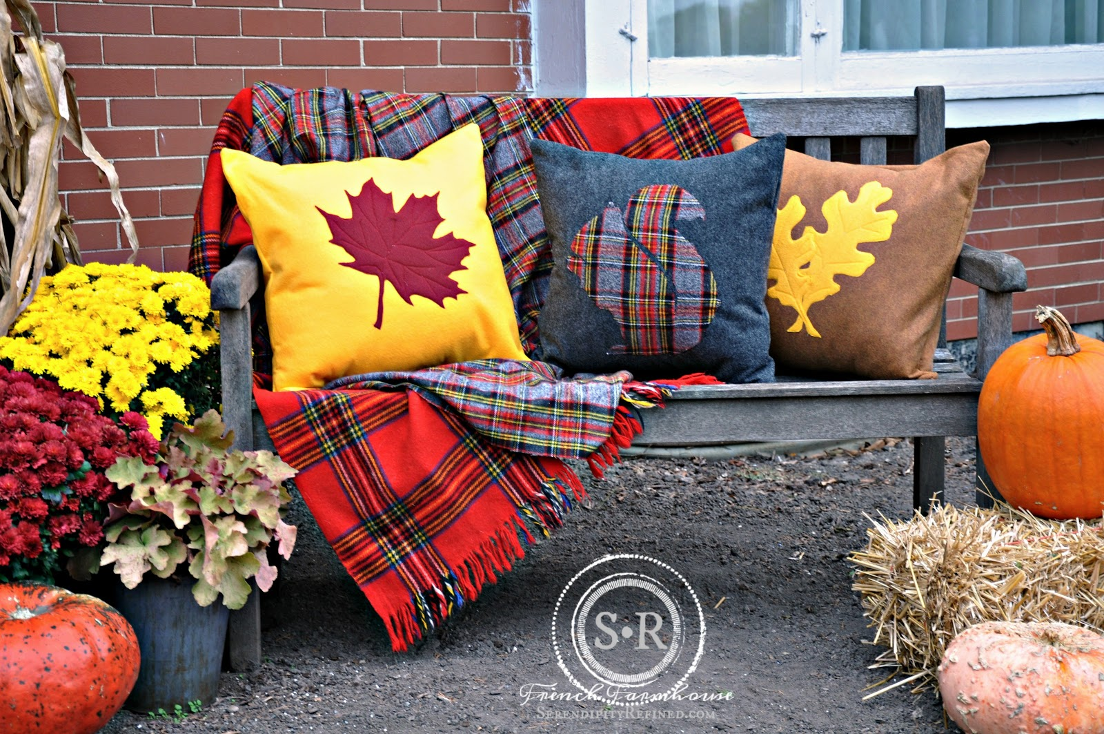 Serendipity Refined Blog: Red Yellow and Gray Fall Porch Decor