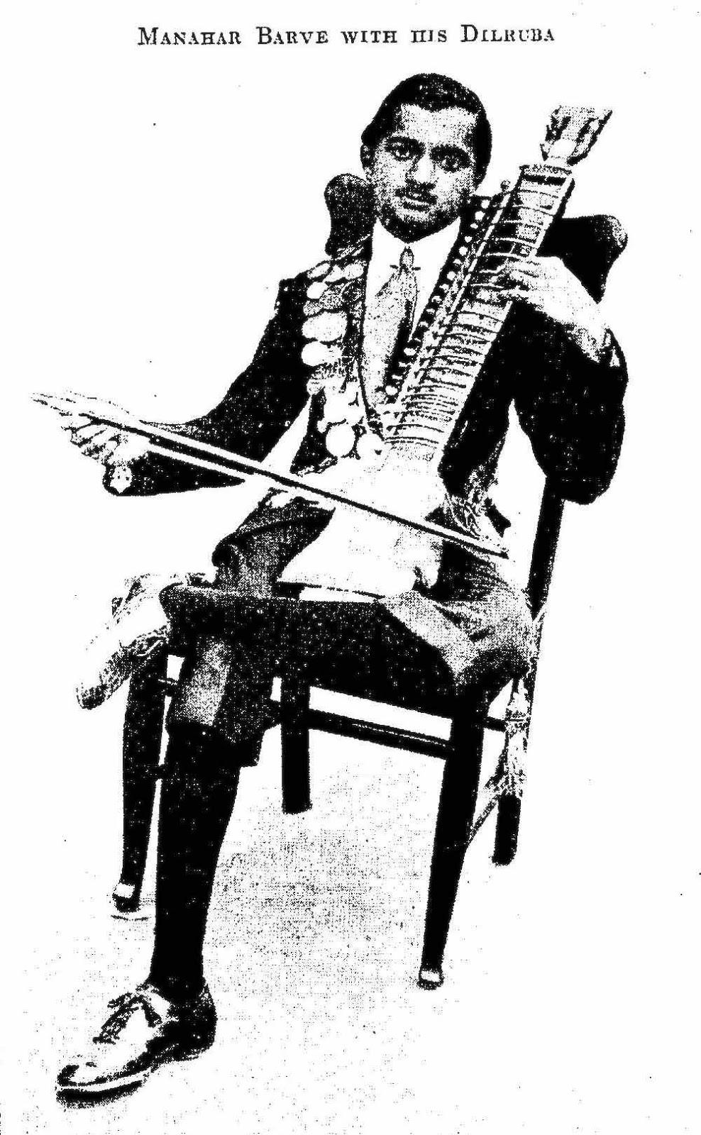 musician Manahar Barve with a Dilruba, 1928