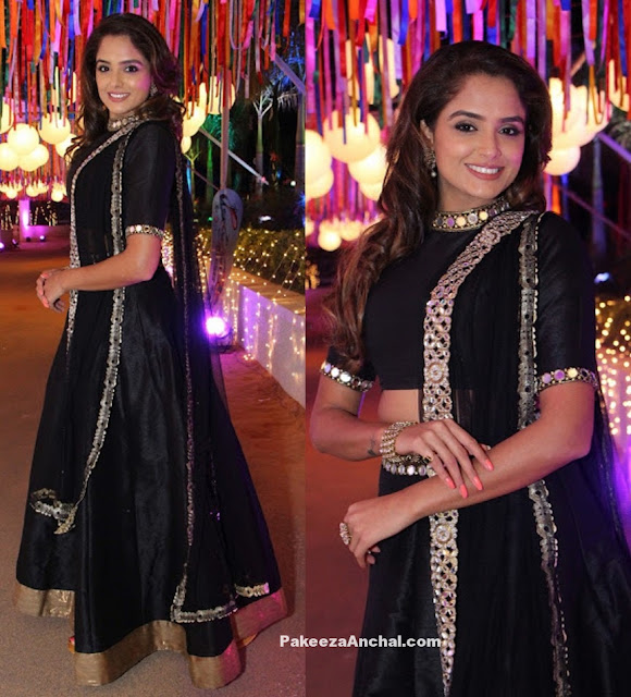 Asmita Sood in Black Lehenga Choli with Mirror Work