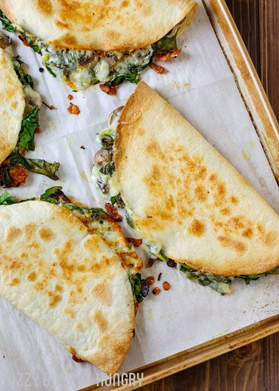 BAKED SPINACH MUSHROOM QUESADILLAS #recipes #pizza #pizzarecipe #food #foodporn #healthy #yummy #instafood #foodie #delicious #dinner #breakfast #dessert #lunch #vegan #cake #eatclean #homemade #diet #healthyfood #cleaneating #foodstagram