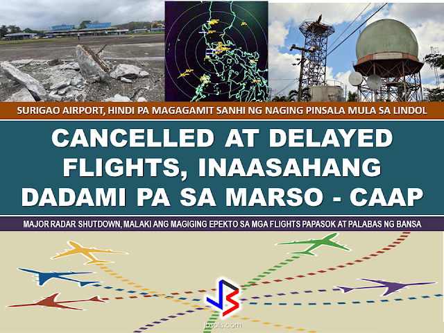 "The Civil Aviation Authority of the Philippines (CAAP) has suspended the operation of the Surigao City airport after Friday's 6.7 magnitude earthquake damaged their runway.  CAAP said repair and rehabilitation of the damaged runway is estimated to last for a month. Though they are not quite sure if it will be operational by March 10.  The quake partially damaged the concrete 1700 meter runway 18/36 of the Surigao airport, according to Evangeline Daba ,CAAP Area Center XII manager They added that there may also be a need to conduct aerial survey to assess the damage.  Palexpress and Cebu Pacific operate daily flights to the said airport from Manila. Surigao flights will be diverted to Butuan Airport during the rehabilitation.       However, it is not only the flights to and from Surigao will have a problem but all flights including NAIA.  The Civil Authority of the Philippines (CAAP) on Monday announced the temporary shut down of one of the three major radars, the Tagaytay radar  will undergo maintenance and upgrade on March 6-11, and this will result to reduced flights during that period. Tagaytay radar is among the radars used by the Ninoy Aquino International Airport (NAIA).   CAAP said the number of flights per hour will be reduced during these period. Passengers are advised to coordinate with airlines their flight schedules.  The airlines were given until this week to finalize their slots for March 6-11. Meanwhile, two radars will remain operational during the maintenance and upgrading of Tagaytay radar. The upgrading will also include the radar in a new system called the Communications, Navigation, Surveillance / Air Traffic Management (CNS/ATM). The upgrade of the Tagaytay Radar system is said to make the air traffic flow better and more efficient.  Source: ABS-CBN News RECOMMENDED: ON JAKATIA PAWA'S EXECUTION: ""WE DID EVERYTHING.."" -DFA  BELLO ASSURES DECISION ON MORATORIUM MAY COME OUT ANYTIME SOON  SEN. JOEL VILLANUEVA  SUPPORTS DEPLOYMENT BAN ON HSWS IN KUWAIT  AT LEAST 71 OFWS ON DEATH ROW ABROAD  DEPLOYMENT MORATORIUM, NOW! -OFW GROUPS  BE CAREFUL HOW YOU TREAT YOUR HSWS  PRESIDENT DUTERTE WILL VISIT UAE AND KSA, HERE'S WHY  MANPOWER AGENCIES AND RECRUITMENT COMPANIES TO BE HIT DIRECTLY BY HSW DEPLOYMENT MORATORIUM IN KUWAIT  UAE TO START IMPLEMENTING 5%VAT STARTING 2018  REMEMBER THIS 7 THINGS IF YOU ARE APPLYING FOR HOUSEKEEPING JOB IN JAPAN  KENYA , THE LEAST TOXIC COUNTRY IN THE WORLD; SAUDI ARABIA, MOST TOXIC   ""JUNIOR CITIZEN ""  BILL TO BENEFIT POOR FAMILIES"