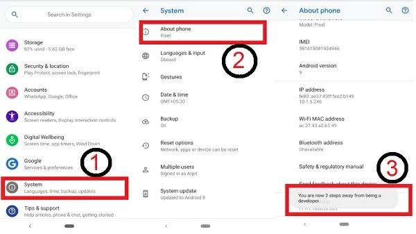 تمكين خيارات المطور على جهاز Android