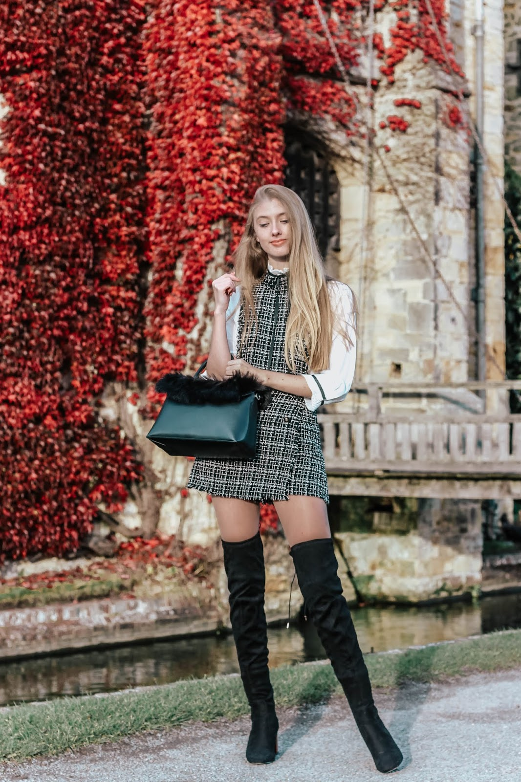 Fashion blogger how to style tweed dress in winter