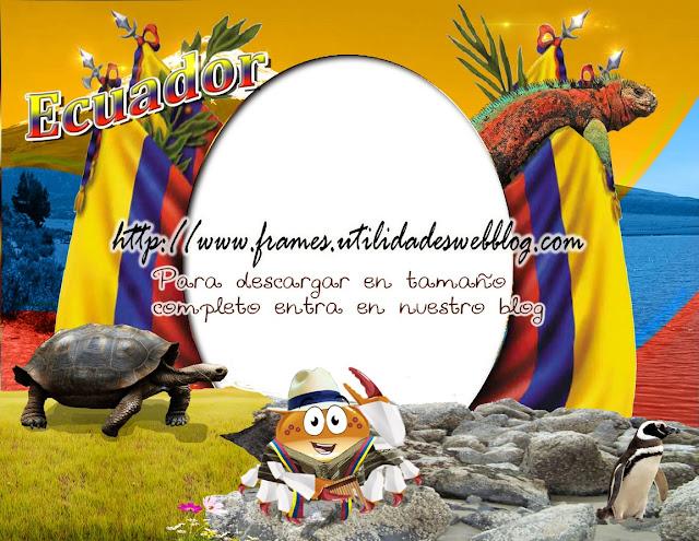marco para fotos con la bandera y elementos patrióticos de Ecuador