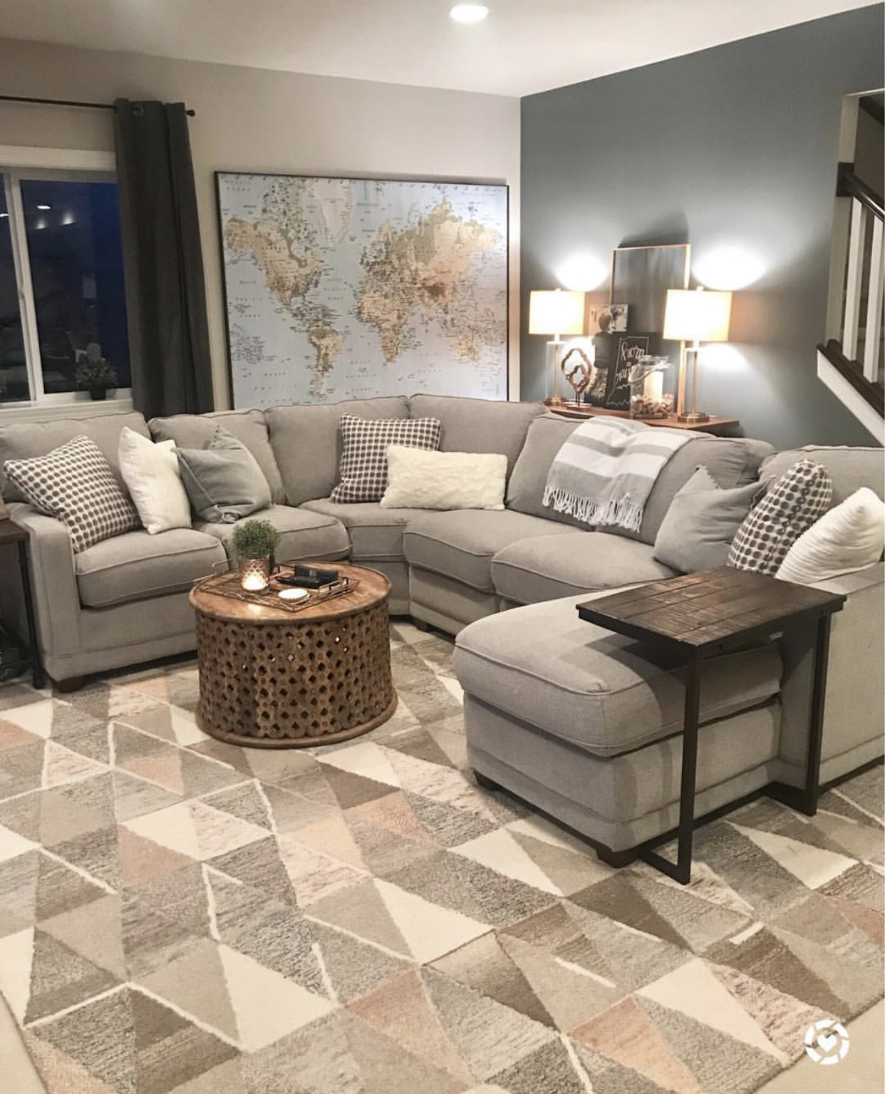 Light gray sectional with chaise