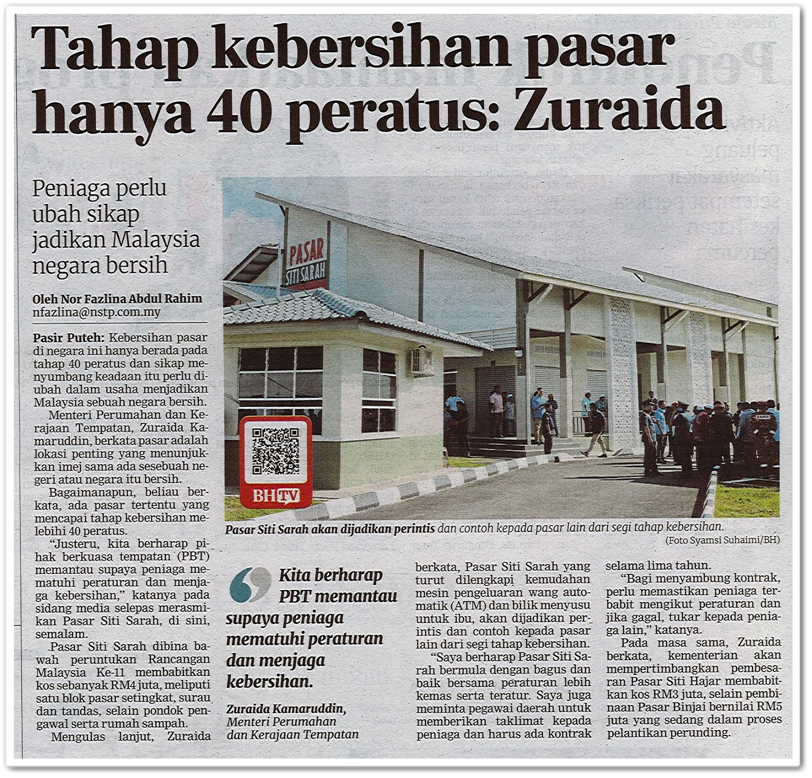 Tahap kebersihan pasar hanya 40 peratus: Zuraida - Keratan akhbar Berita Harian 15 Februari 2020