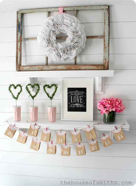 Shelf Decorating Ideas Living Room: Simple, Fresh Valentines Shelf Decor 2013