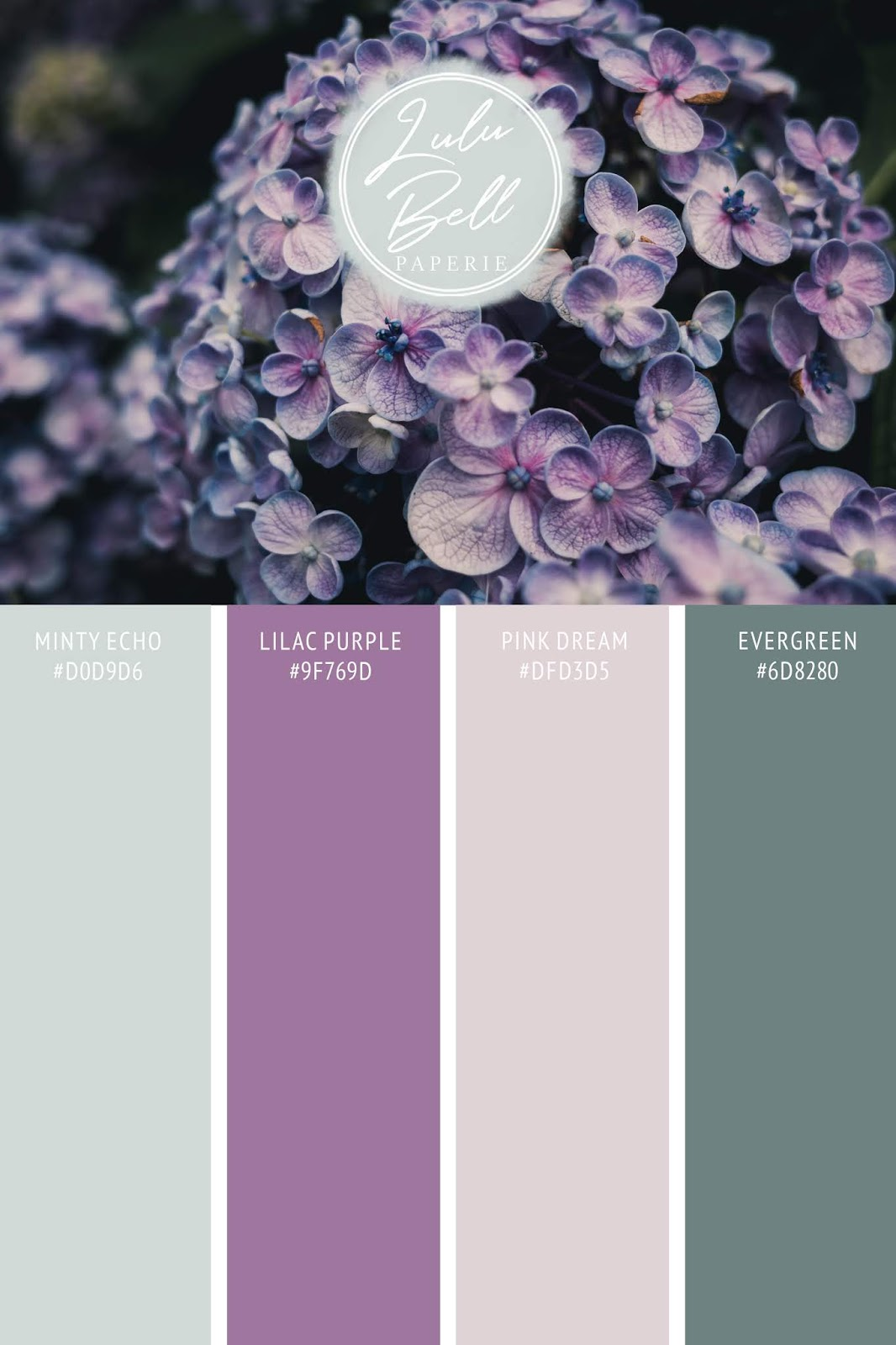 Lilac floral wedding collection's color palette card. With swatches and color hex codes. In lilac purple, minty echo, pink dream, and evergreen color scheme.