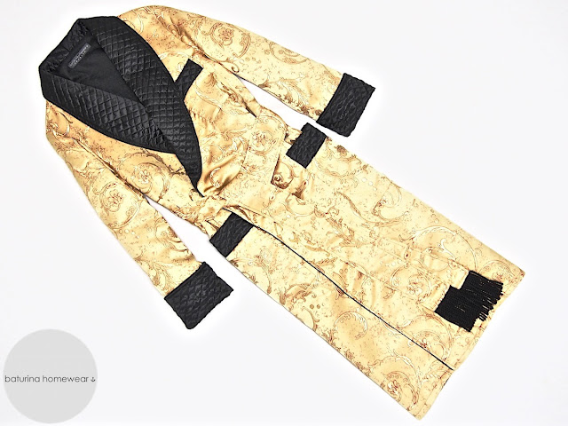 Men's silk dressing gown gold black paisley luxury robe quilted smoking jacket