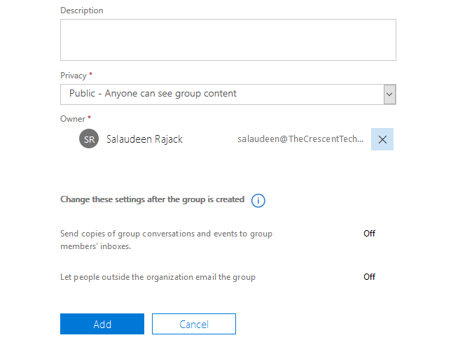 create an office 365 group