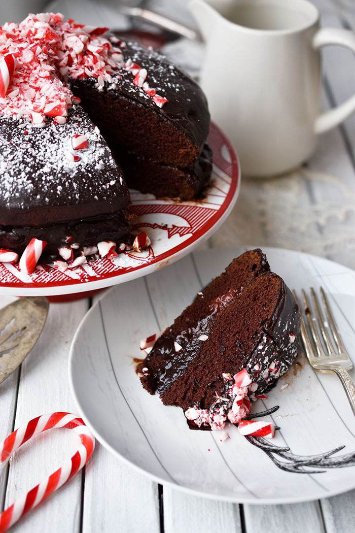 Simple Candy Cane Chocolate Cake With Fudge Icing (vegan recipe)
