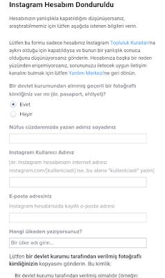 Instagram taklit formu