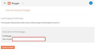 Masukkan nama tampilan, untuk membuat profil blogger