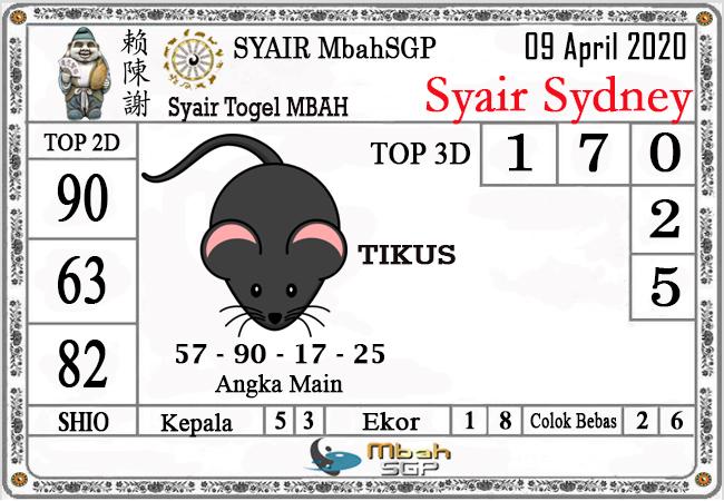 Prediksi Togel Sidney Kamis 09 April 2020 - Syair Mbah SDY