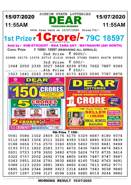 Sikkim State Lottery Sambad 15-07-2020 Today Result 11.55 AM
