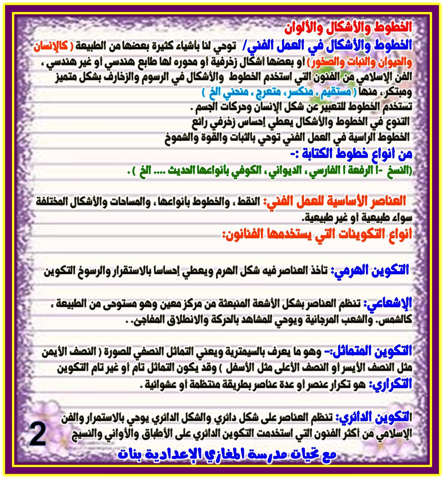 مراجعة التربية الفنية للصف الثاني الاعدادي الترمين 2