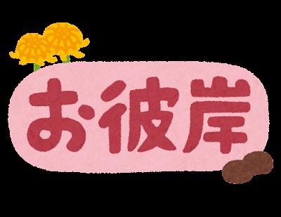 「お彼岸」のイラスト文字(春)