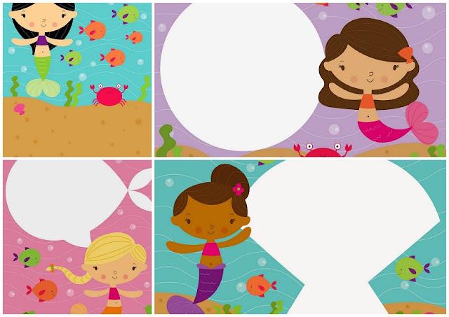 Invitaciones para Fiesta de Sirenas Bebés para Imprimir Gratis.