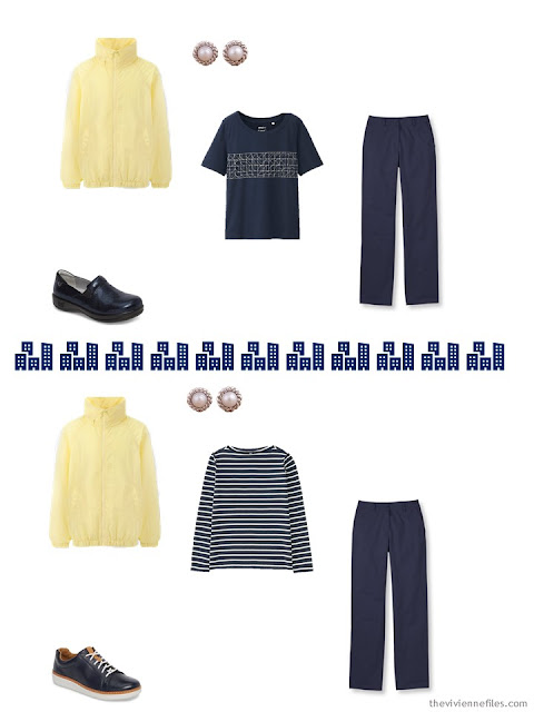 2 ways to wear yellow with navy and white from a travel capsule wardrobe