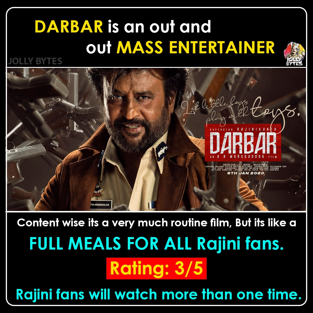 DARBAR Review & Rating: Feast for Rajini fans and Mass - alltollywood.com
