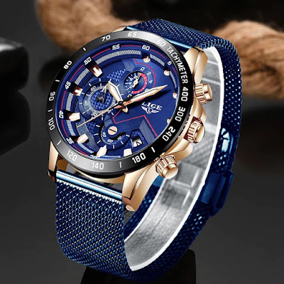 LIGE new watch. Full blue mesh with gold case. This is a stylish business and leisure clock. With chronograph, automatic calendar, waterproof, shockproof, luminous, and other functions; suitable for all occasions.