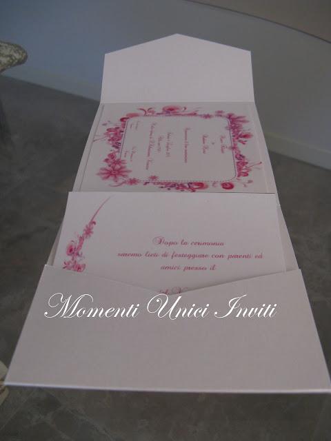 fiori+fucsia1 Partecipazione Pocket mod.fiori fucsiaColore Fucsia Colore Rosa Partecipazioni Pocket