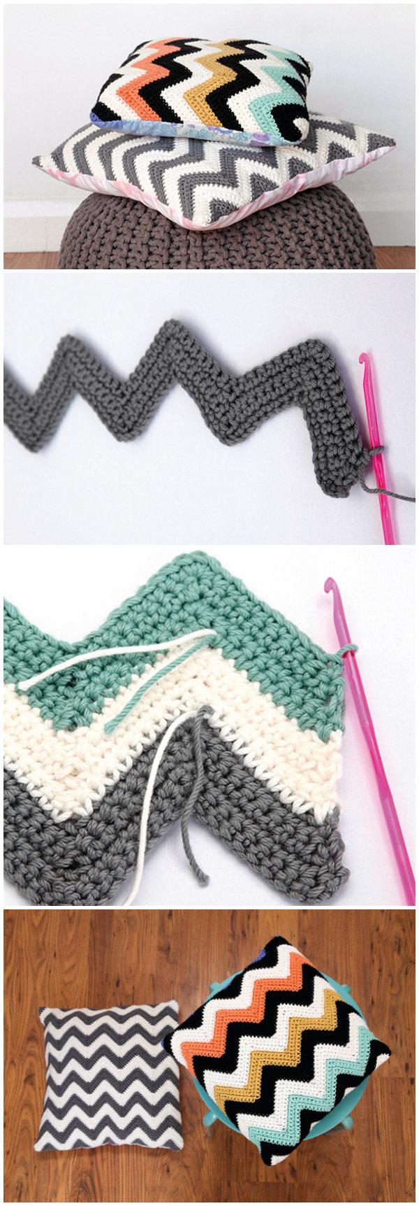 How To Crochet Chevron Cushions