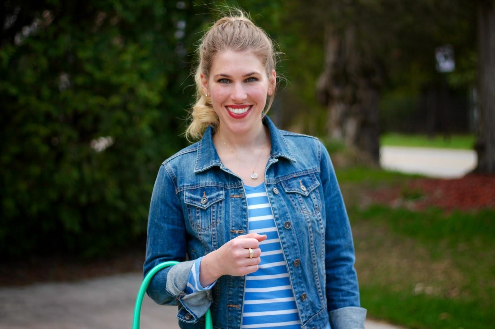 grey jeans paste blue striped top denim jacket, converse, mint kate spade bag