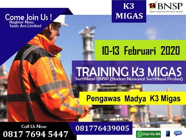 Training Pengawas Madya K3 Migas tgl. 10-13 Februari 2020