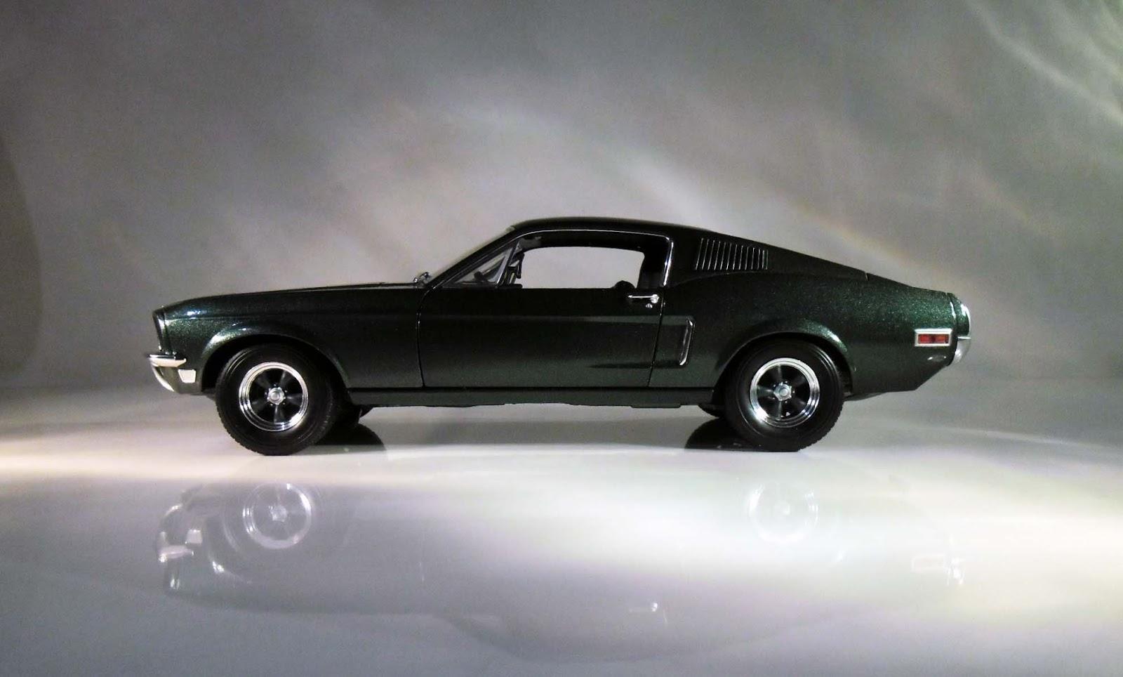 Ford Mustang GT 1968 verde sin restaurar Bullitt steve mcqueen coche modelo 1:18