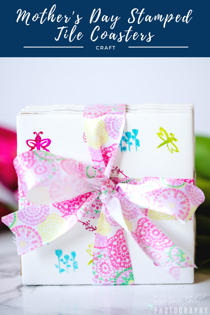 DIY Mother\'s Day Stamped Tile Coasters - AnnMarie John