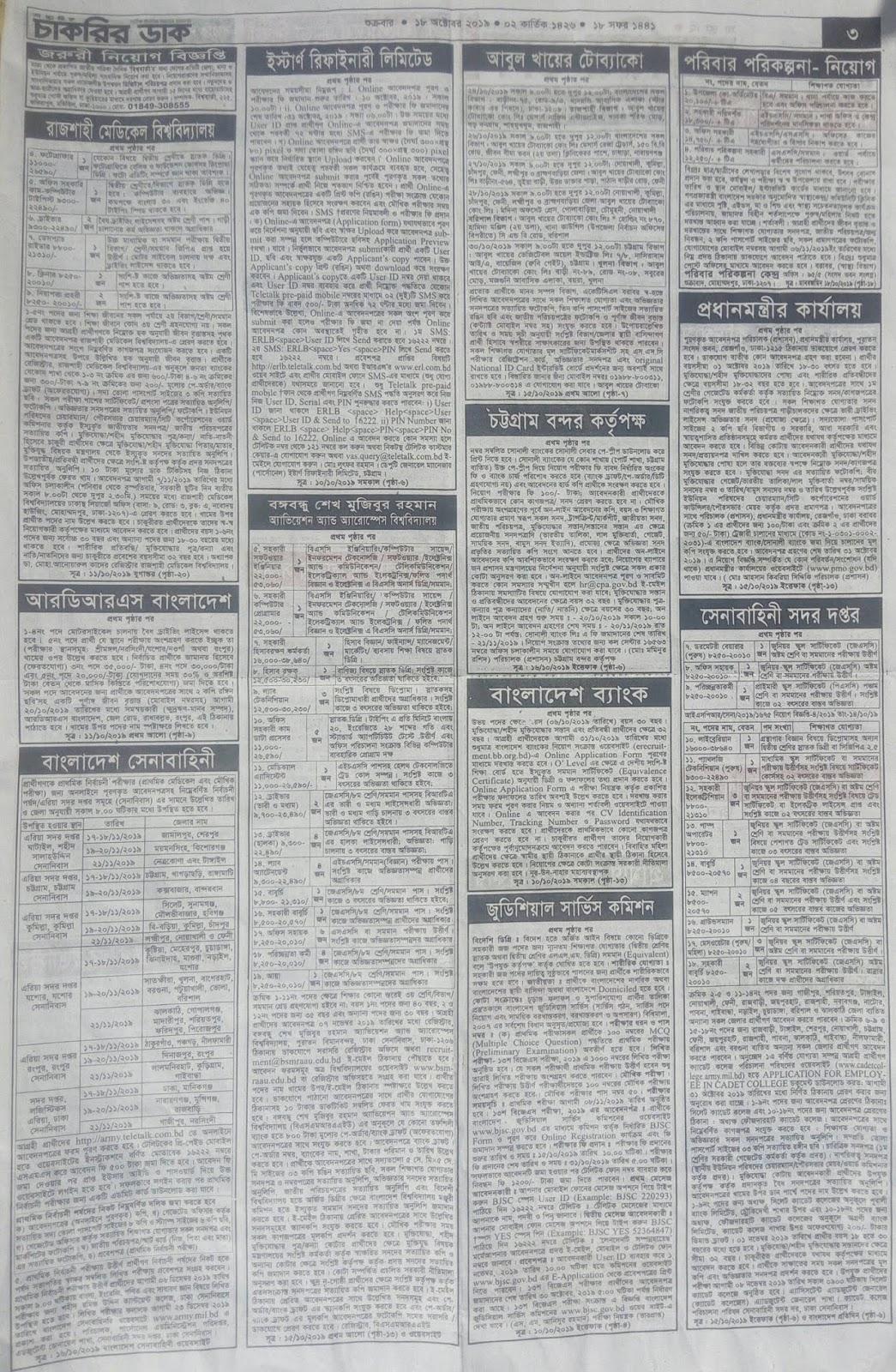 সাপ্তাহিক চাকরির ডাক পত্রিকা ১৮ অক্টোবর ২০১৯ Weekly Chakrir Dak Newspaper 18 October 2019