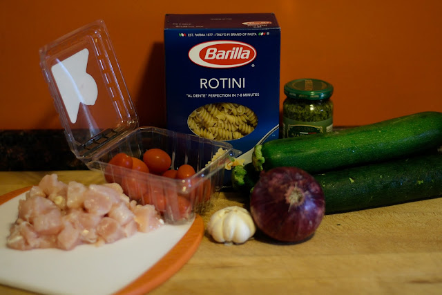The ingredients needed to make the Chicken Pesto Pasta Salad Recipe