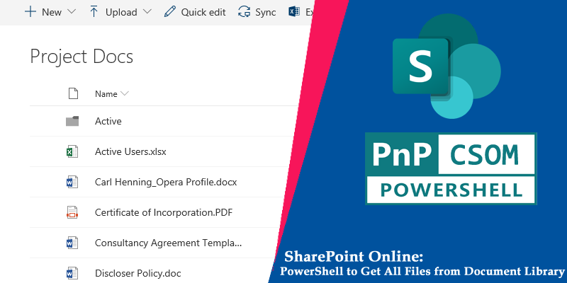 SharePoint Online PowerShell to get All Files from a Document Library