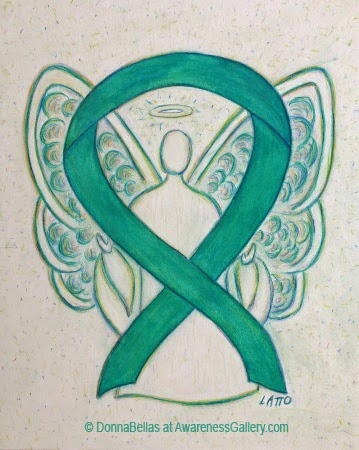 Green Guardian Angel Awareness Ribbon Image Picture