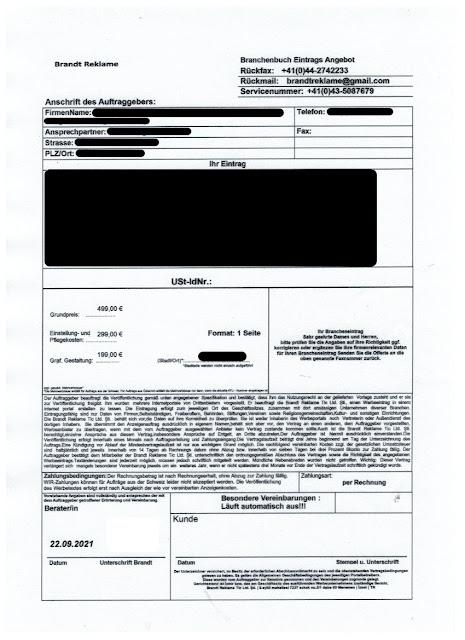 Scan: Offerte Brandt Reklame Tic Ltd. Şti / Sep 2021