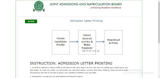 2018/2019 JAMB Admission Letter Scratch Card Printing Price