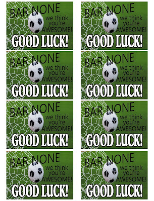 "Wish your Soccer Team good luck with this team treat printable.  These tags work great on granola bars and read ""Bar None we think you're awesome! Good Luck!""  They are great for pre-game treats or rooting during half time."