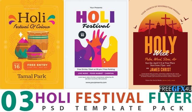 03 Holi Festival Flyer PSD Template Pack