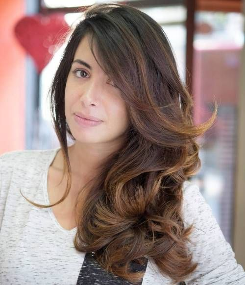 Long Chestnut Brown Hair Color With Honey Blonde Highlights
