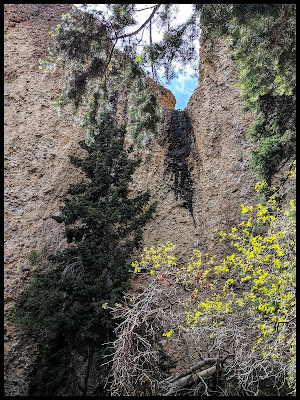 An area where there is a waterfall during spring run offs and storms in Maple Canyon