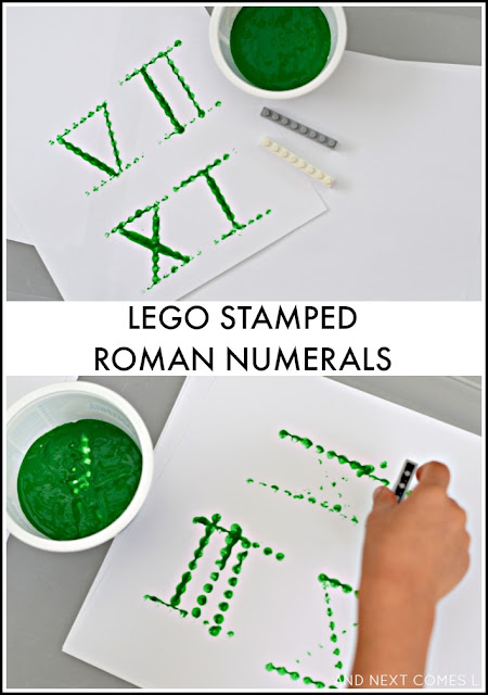 LEGO stamped Roman numerals: Math idea for kids to learn about Roman numerals from And Next Comes L