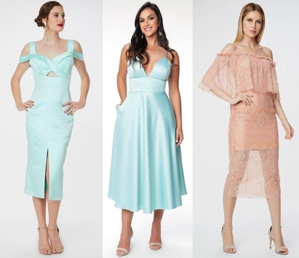 Seleção de vestido de festa midi