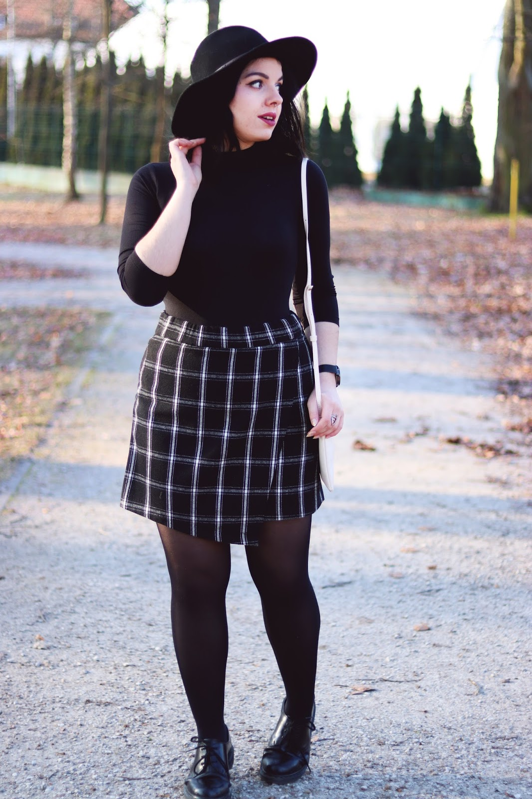 Windowpane Checkered Wrap Skirt