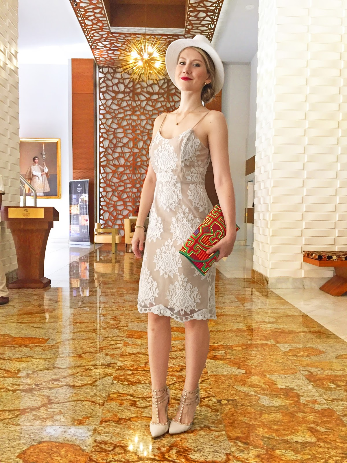 Classy Brunch Outfit in a White Lace Dress