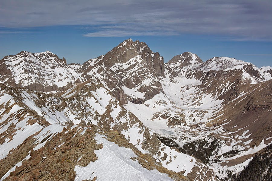 Broken Hand peak Crestones Kit Carson and Humboldt Peak from the summit of Marble Mountain