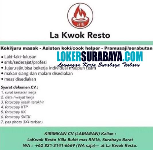 Karir Surabaya Di La Kwok Resto Agustus 2020 Lowongan Kerja Surabaya November 2020 Lowongan Kerja Jawa Timur Terbaru