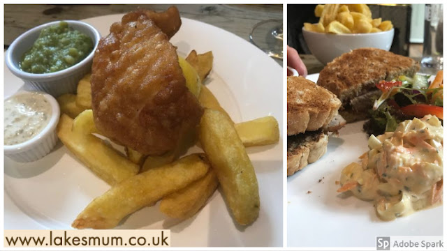Derby Arms, Witherslack fish and chips sausage sandwich