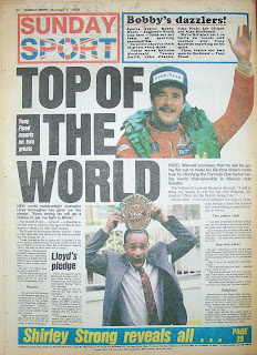Back page of Sunday sport newspaper from 5th October 1986
