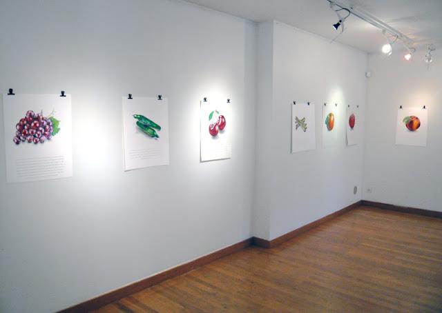"""Sept dessins de la série """"Hommage à Magritte"""" accrochés au mur"""